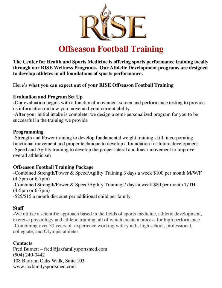 Off Season Football Training - The Center for Health and Sports Medicine